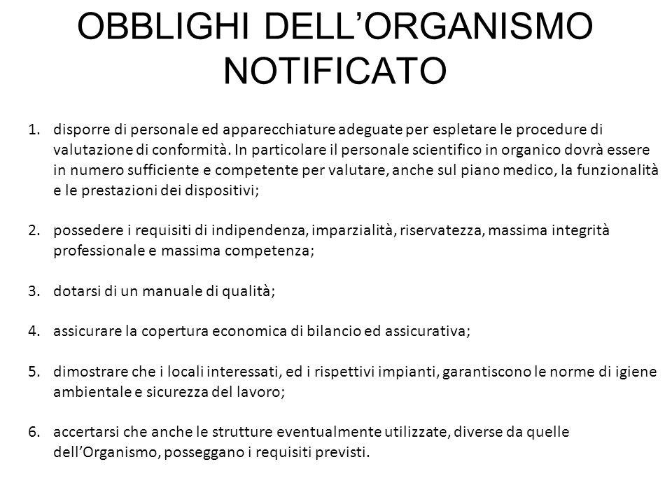 OBBLIGHI DELLORGANISMO NOTIFICATO 1.disporre di personale ed apparecchiature adeguate per espletare le procedure di valutazione di conformità. In part