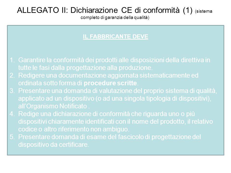 ALLEGATO II: Dichiarazione CE di conformità (1) (sistema completo di garanzia della qualità) IL FABBRICANTE DEVE 1.Garantire la conformità dei prodott