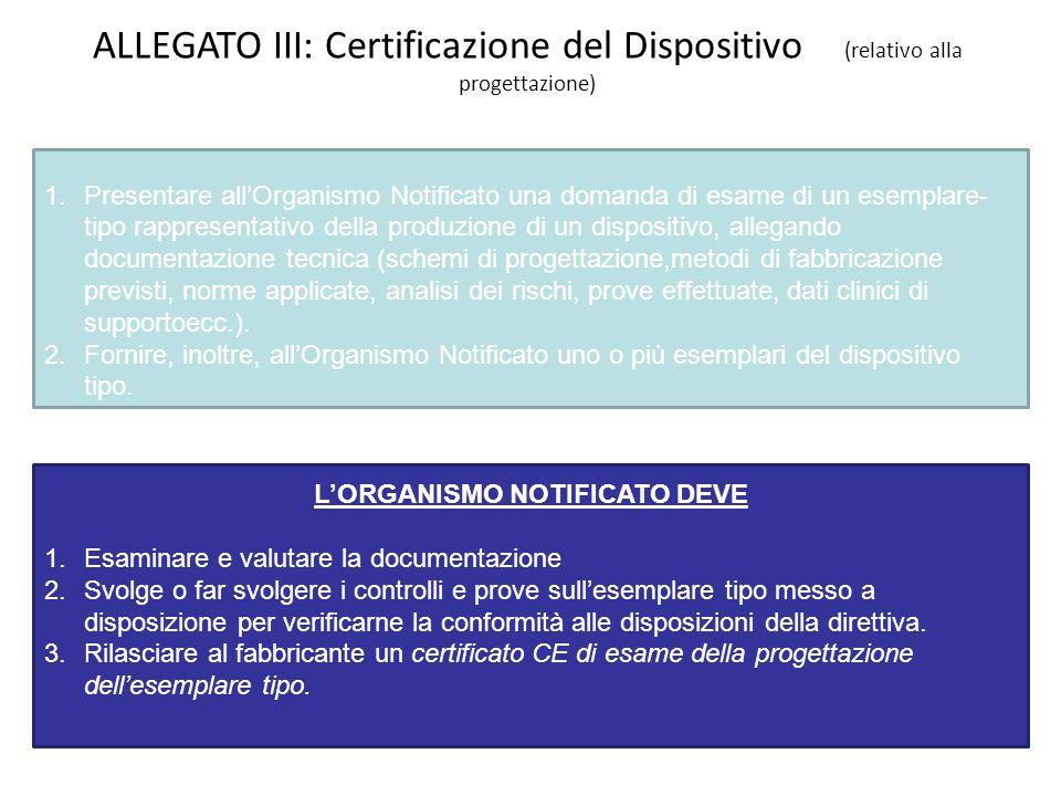 ALLEGATO III: Certificazione del Dispositivo (relativo alla progettazione) IL FABBRICANTE DEVE 1.Presentare allOrganismo Notificato una domanda di esa