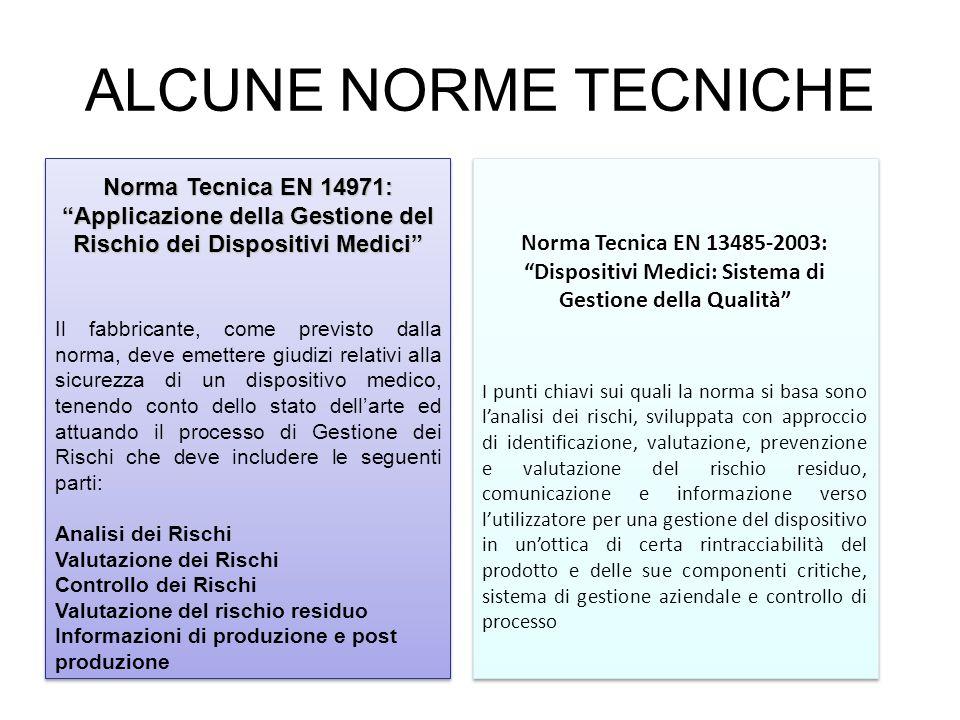 ALCUNE NORME TECNICHE Norma Tecnica EN 14971: Applicazione della Gestione del Rischio dei Dispositivi Medici Il fabbricante, come previsto dalla norma