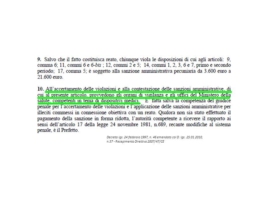 Decreto lgs. 24 febbraio 1997, n. 46 emendato col D. lgs. 25.01.2010, n.37 - Recepimento Direttiva 2007/47/CE
