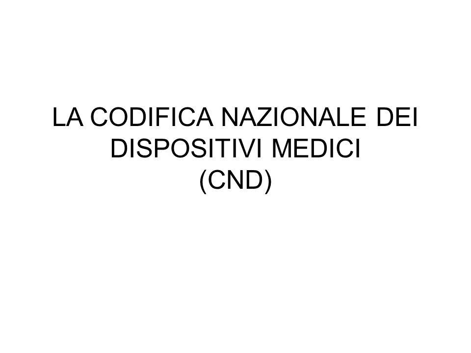 LA CODIFICA NAZIONALE DEI DISPOSITIVI MEDICI (CND)