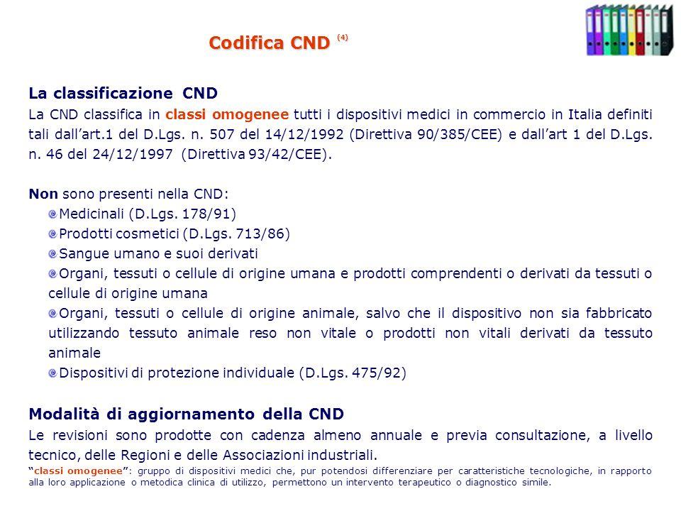 Codifica CND (4) La classificazione CND La CND classifica in classi omogenee tutti i dispositivi medici in commercio in Italia definiti tali dallart.1