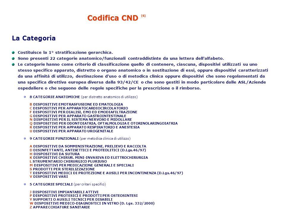 Codifica CND (6) La Categoria Costituisce la 1° stratificazione gerarchica. Sono presenti 22 categorie anatomico/funzionali contraddistinte da una let