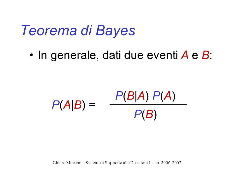 Chiara Mocenni - Sistemi di Supporto alle Decisioni I – aa. 2006-2007 Teorema di Bayes In generale, dati due eventi A e B: P(A|B) = P(B|A) P(A) P(B)P(