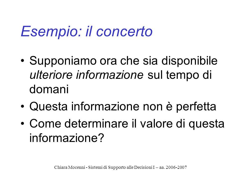 Chiara Mocenni - Sistemi di Supporto alle Decisioni I – aa. 2006-2007 Esempio: il concerto Supponiamo ora che sia disponibile ulteriore informazione s
