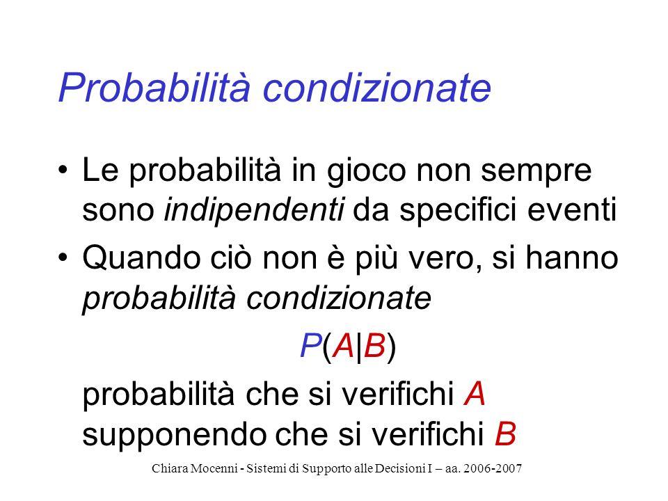 Chiara Mocenni - Sistemi di Supporto alle Decisioni I – aa. 2006-2007 Probabilità condizionate Le probabilità in gioco non sempre sono indipendenti da