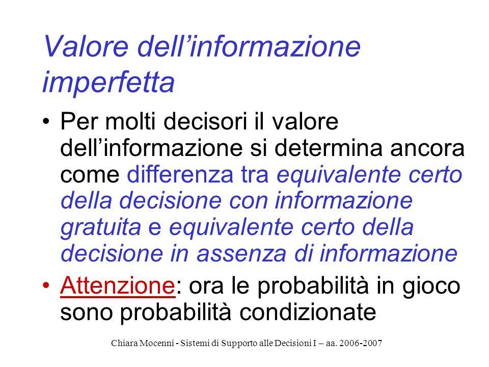 Chiara Mocenni - Sistemi di Supporto alle Decisioni I – aa. 2006-2007 Valore dellinformazione imperfetta Per molti decisori il valore dellinformazione
