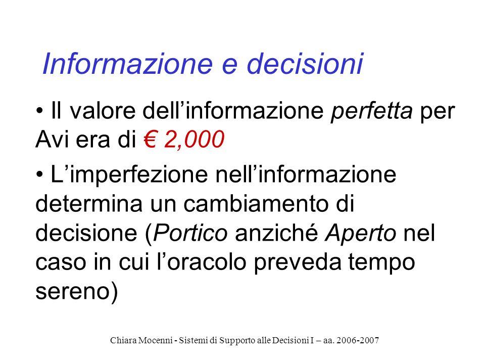 Chiara Mocenni - Sistemi di Supporto alle Decisioni I – aa. 2006-2007 Informazione e decisioni Il valore dellinformazione perfetta per Avi era di 2,00