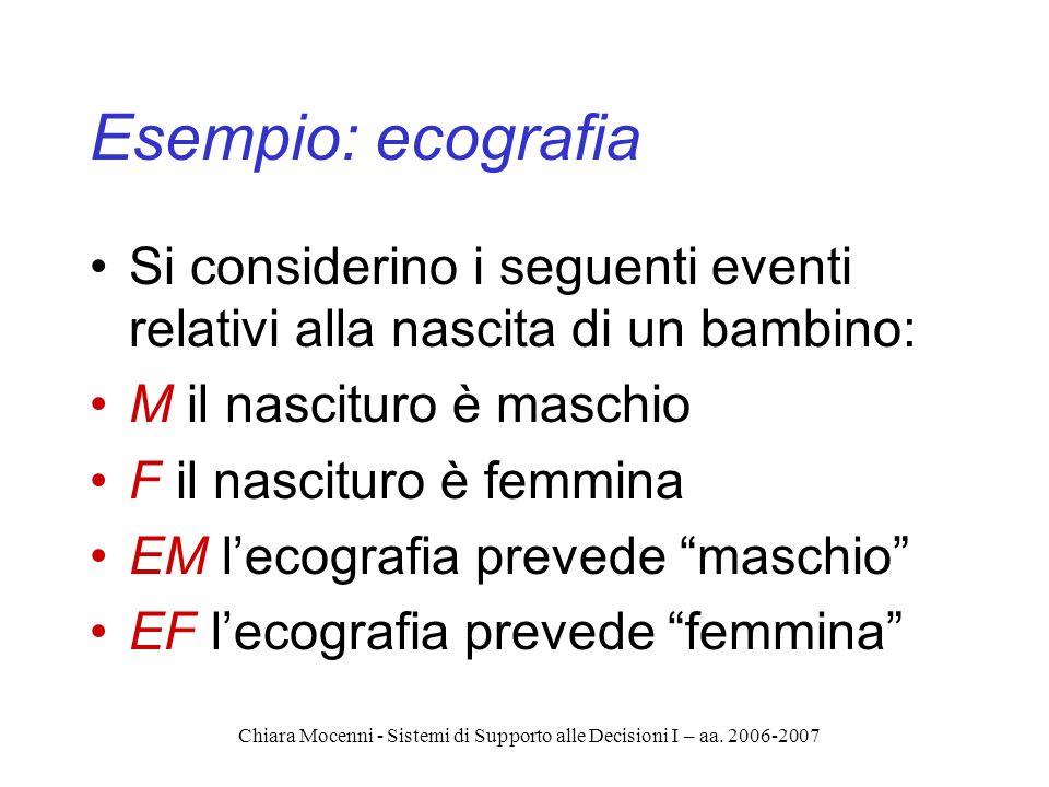 Chiara Mocenni - Sistemi di Supporto alle Decisioni I – aa. 2006-2007 Esempio: ecografia Si considerino i seguenti eventi relativi alla nascita di un