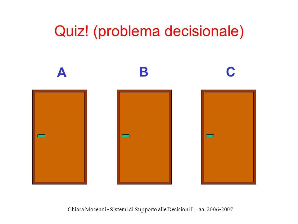 Chiara Mocenni - Sistemi di Supporto alle Decisioni I – aa. 2006-2007 Quiz! (problema decisionale) A CB