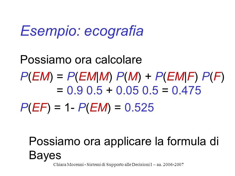 Chiara Mocenni - Sistemi di Supporto alle Decisioni I – aa. 2006-2007 Esempio: ecografia Possiamo ora calcolare P(EM) = P(EM|M) P(M) + P(EM|F) P(F) =