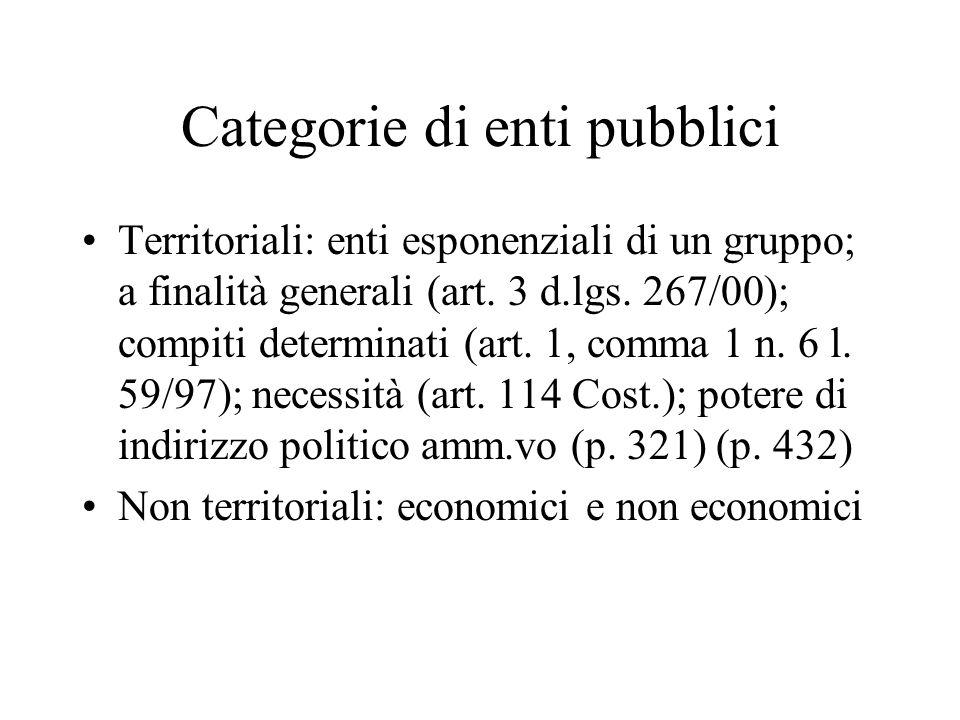 Categorie di enti pubblici Territoriali: enti esponenziali di un gruppo; a finalità generali (art. 3 d.lgs. 267/00); compiti determinati (art. 1, comm