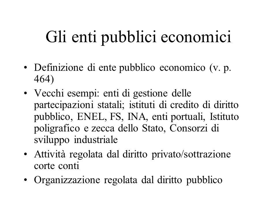 Gli enti pubblici economici Definizione di ente pubblico economico (v. p. 464) Vecchi esempi: enti di gestione delle partecipazioni statali; istituti