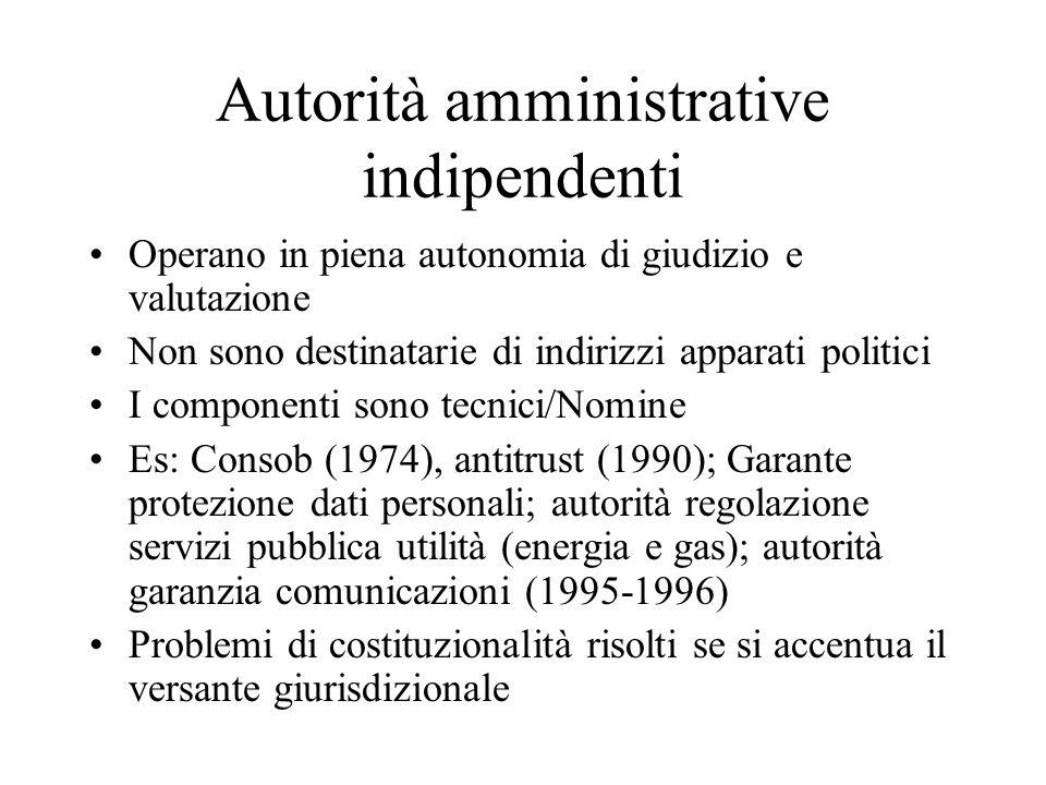 Autorità amministrative indipendenti Operano in piena autonomia di giudizio e valutazione Non sono destinatarie di indirizzi apparati politici I compo