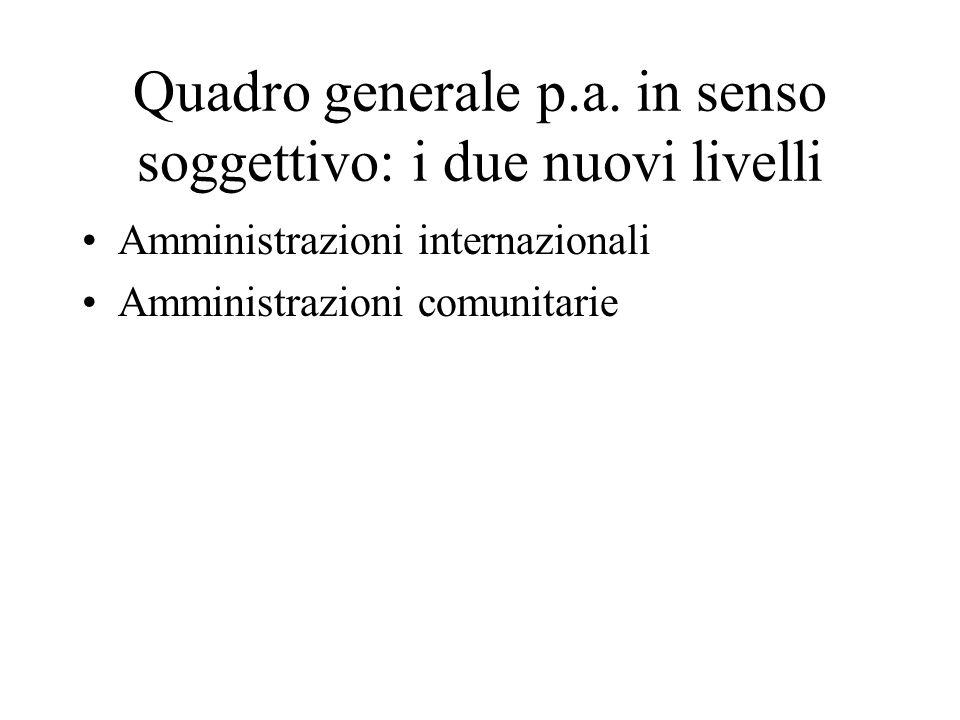 Quadro generale p.a. in senso soggettivo: i due nuovi livelli Amministrazioni internazionali Amministrazioni comunitarie