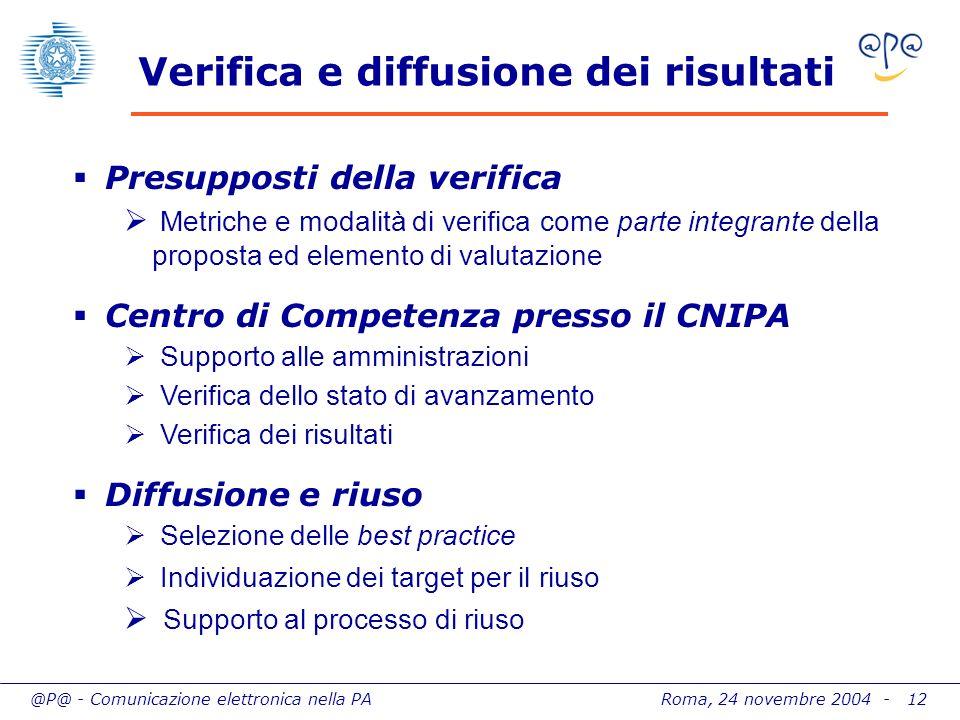 @P@ - Comunicazione elettronica nella PA Roma, 24 novembre 2004 - 12 Verifica e diffusione dei risultati Presupposti della verifica Metriche e modalit