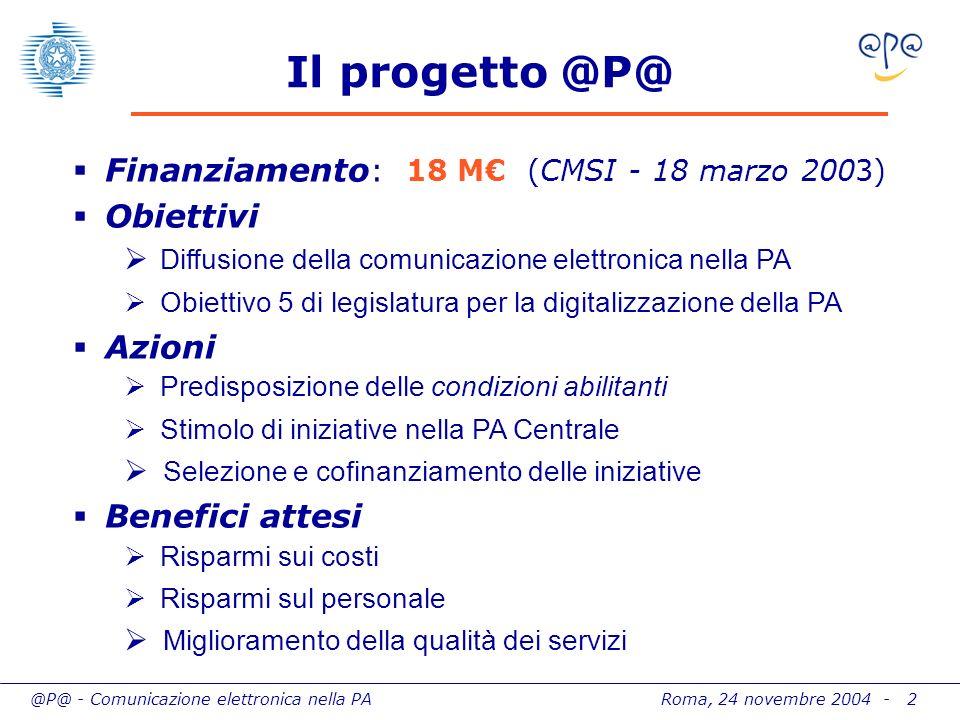 @P@ - Comunicazione elettronica nella PA Roma, 24 novembre 2004 - 2 Il progetto @P@ Finanziamento : 18 M (CMSI - 18 marzo 2003) Obiettivi Diffusione d