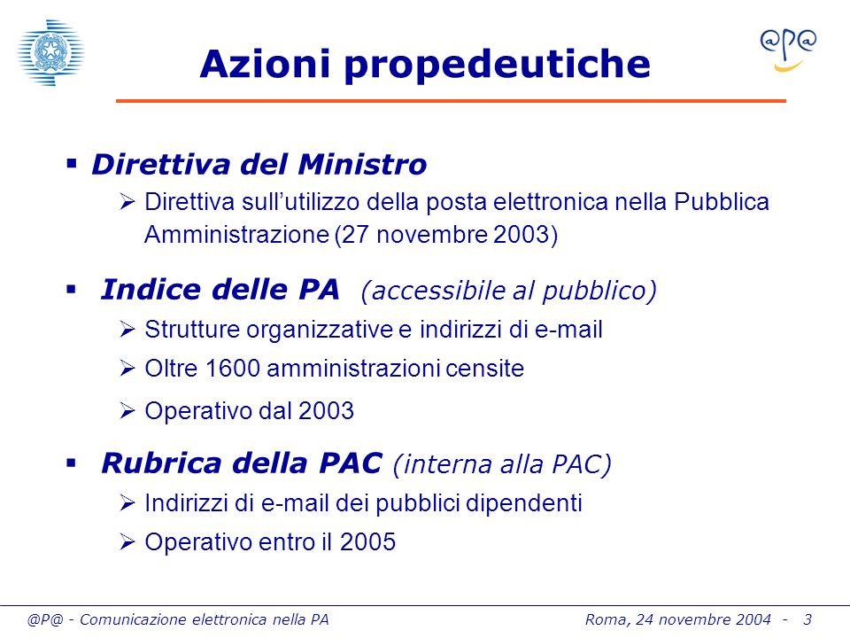 @P@ - Comunicazione elettronica nella PA Roma, 24 novembre 2004 - 4 Volume dellintervento Capillarità delliniziativa 26 iniziative attivate (entro gennaio 2005) 14 amministrazioni coinvolte 300 procedimenti amministrativi interessati Investimenti e risparmi 40 M di investimenti complessivi 13 M di cofinanziamenti (leva 1 a 3) 130 M di risparmi annui Rientro dellinvestimento In 24 mesi a partire dallerogazione (entro il 2006)