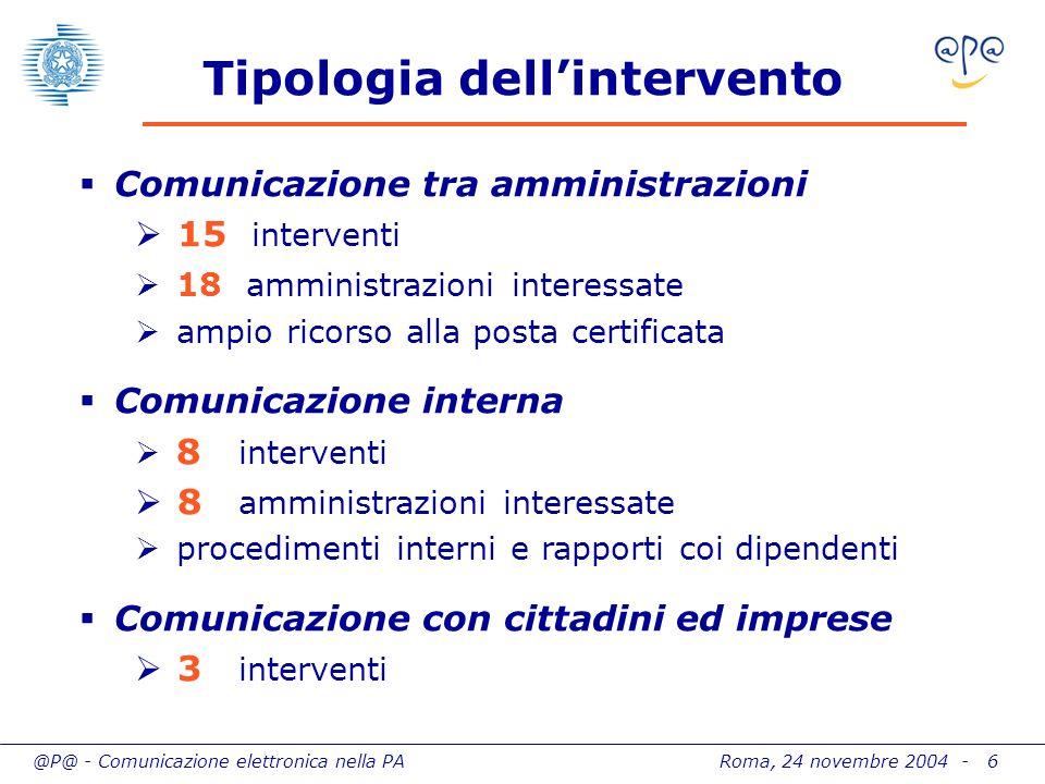 @P@ - Comunicazione elettronica nella PA Roma, 24 novembre 2004 - 6 Tipologia dellintervento Comunicazione tra amministrazioni 15 interventi 18 ammini