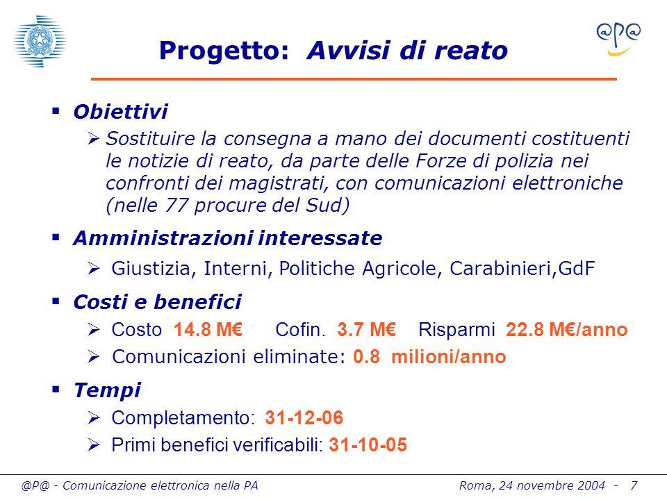 @P@ - Comunicazione elettronica nella PA Roma, 24 novembre 2004 - 7 Progetto: Avvisi di reato Obiettivi Sostituire la consegna a mano dei documenti co