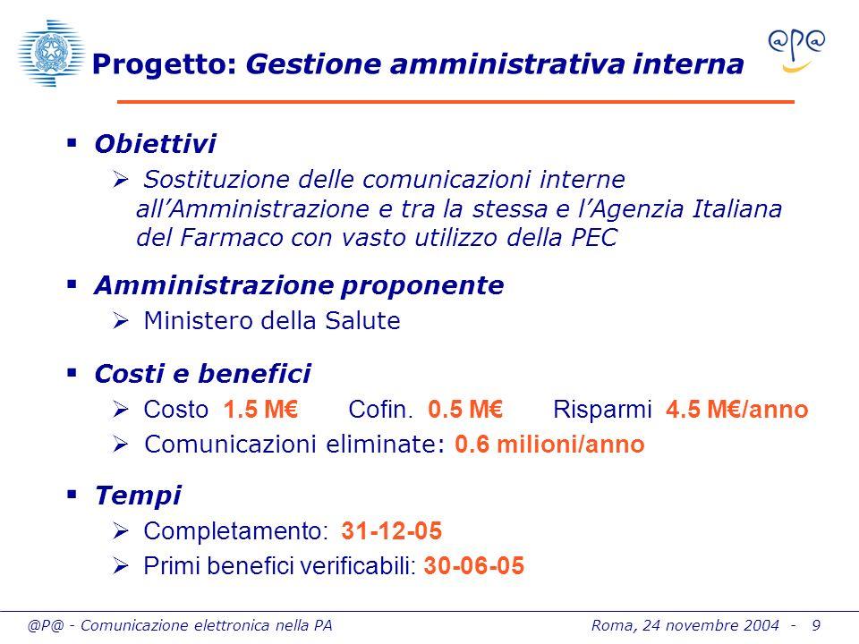 @P@ - Comunicazione elettronica nella PA Roma, 24 novembre 2004 - 9 Progetto: Gestione amministrativa interna Obiettivi Sostituzione delle comunicazio