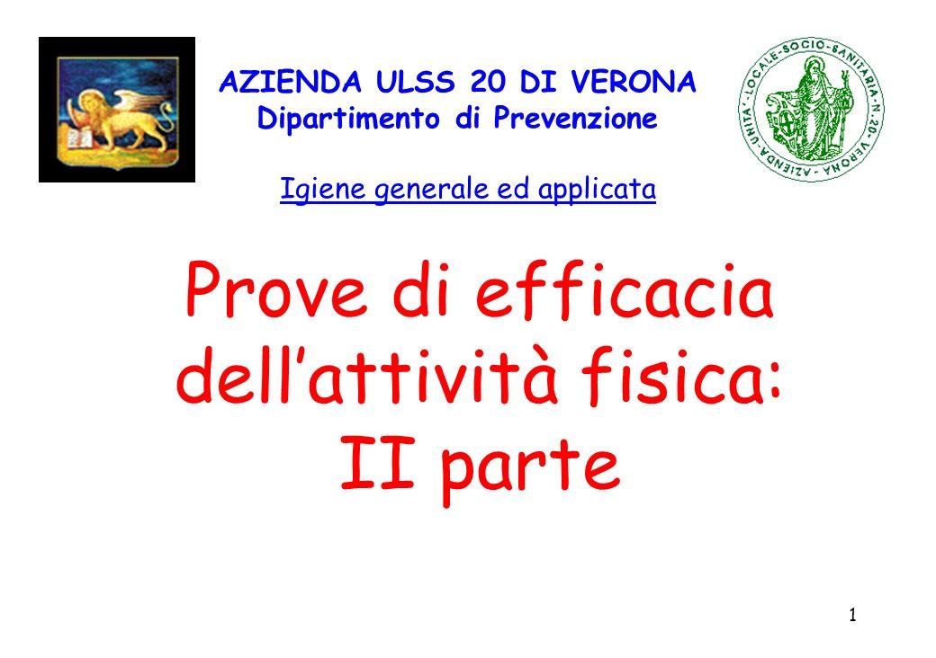 1 AZIENDA ULSS 20 DI VERONA Dipartimento di Prevenzione Igiene generale ed applicata Prove di efficacia dellattività fisica: II parte