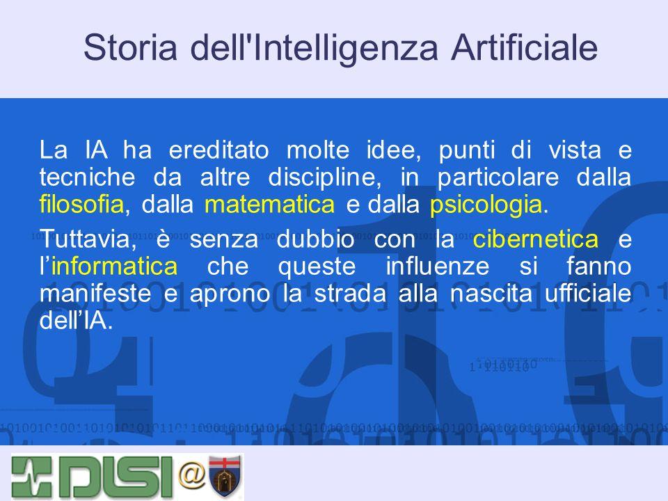 Storia dell'Intelligenza Artificiale La IA ha ereditato molte idee, punti di vista e tecniche da altre discipline, in particolare dalla filosofia, dal