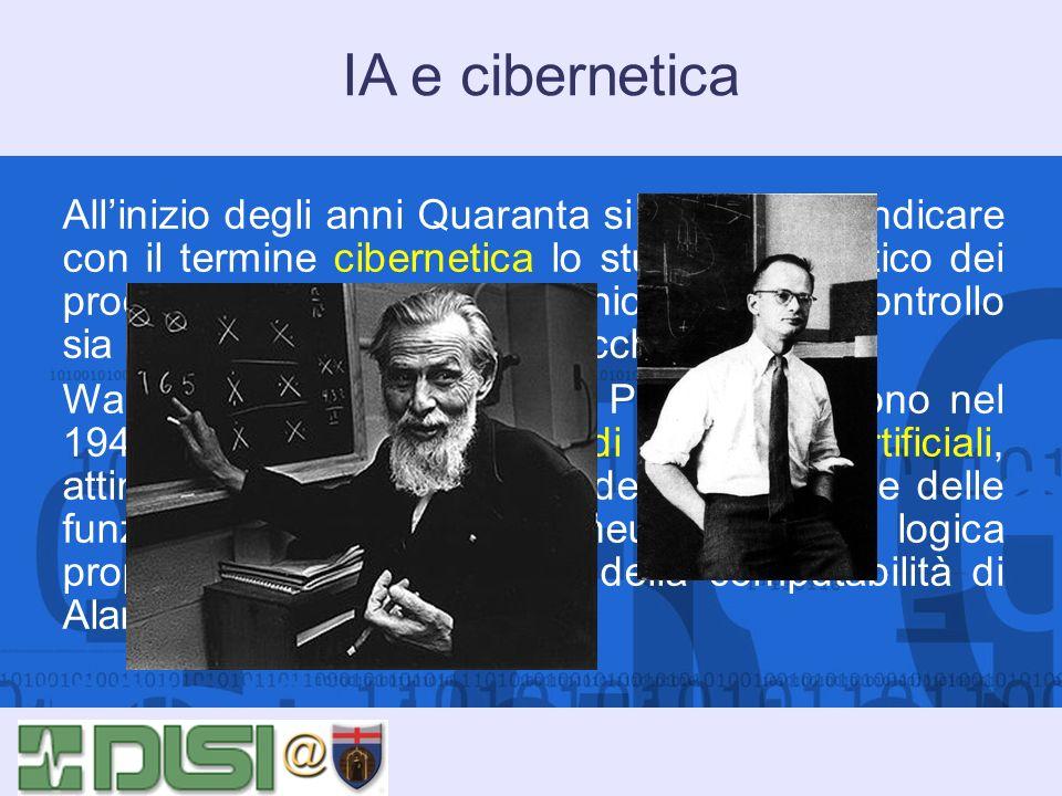 IA e cibernetica Allinizio degli anni Quaranta si comincia a indicare con il termine cibernetica lo studio sistematico dei processi riguardanti la com