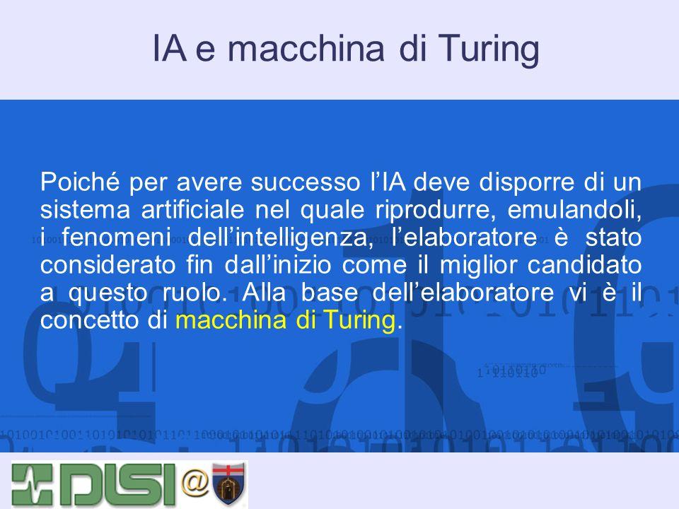 IA e macchina di Turing Poiché per avere successo lIA deve disporre di un sistema artificiale nel quale riprodurre, emulandoli, i fenomeni dellintelli