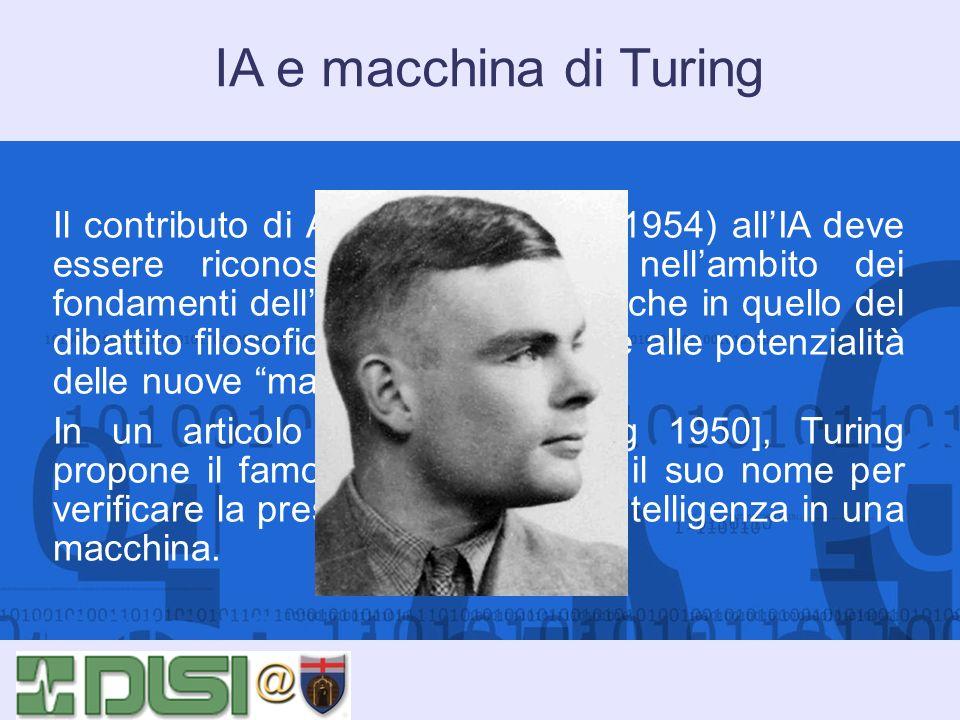 IA e macchina di Turing Il contributo di Alan Turing (1912-1954) allIA deve essere riconosciuto non solo nellambito dei fondamenti dellinformatica, ma