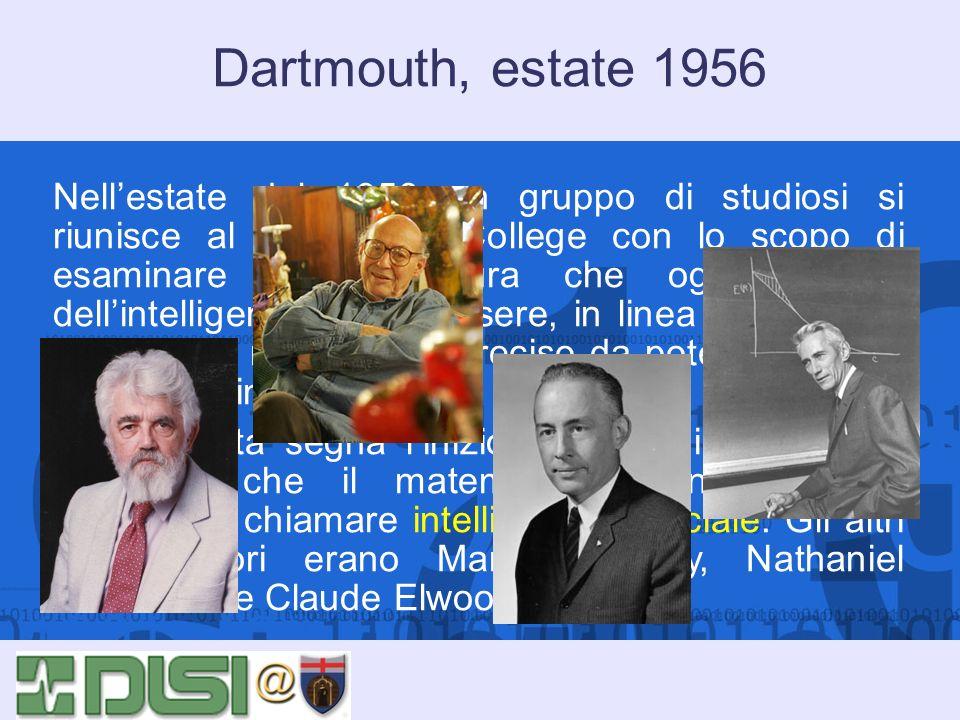 Dartmouth, estate 1956 Nellestate del 1956 un gruppo di studiosi si riunisce al Dartmouth College con lo scopo di esaminare la congettura che ogni asp