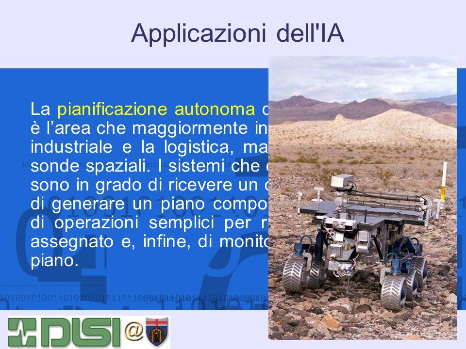 Applicazioni dell'IA La pianificazione autonoma di attività e operazioni è larea che maggiormente interessa la produzione industriale e la logistica,