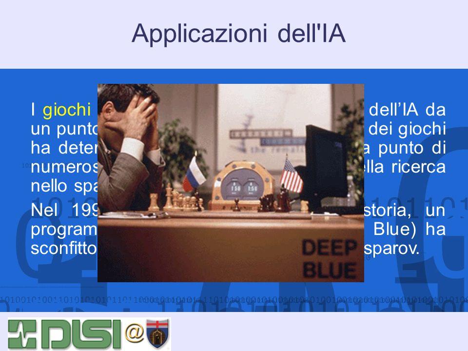 Applicazioni dell'IA I giochi sono una delle aree tradizionali dellIA da un punto di vista metodologico. Lo studio dei giochi ha determinato lo svilup