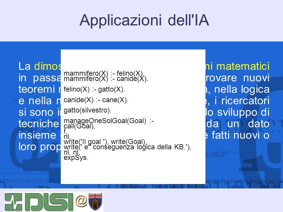 Applicazioni dell'IA La dimostrazione automatica di teoremi matematici in passato era volta a scoprire e provare nuovi teoremi nellaritmetica, nella g