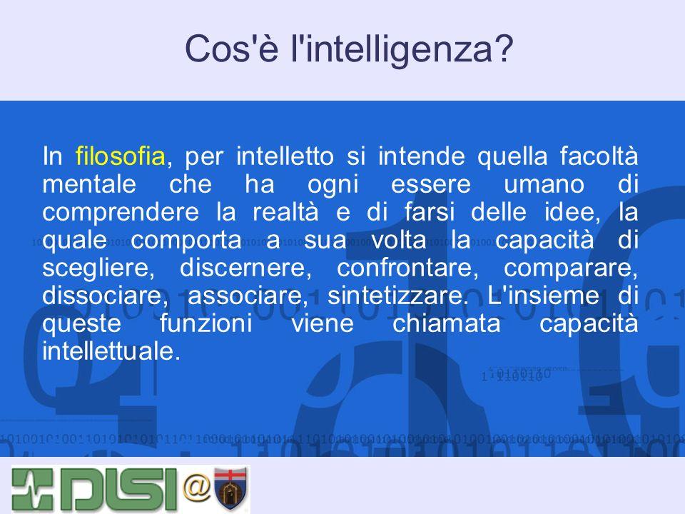 Cos'è l'intelligenza? In filosofia, per intelletto si intende quella facoltà mentale che ha ogni essere umano di comprendere la realtà e di farsi dell