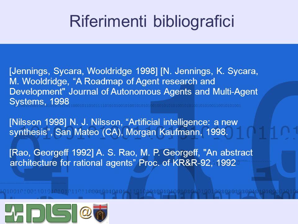 Riferimenti bibliografici [Jennings, Sycara, Wooldridge 1998] [N. Jennings, K. Sycara, M. Wooldridge, A Roadmap of Agent research and Development