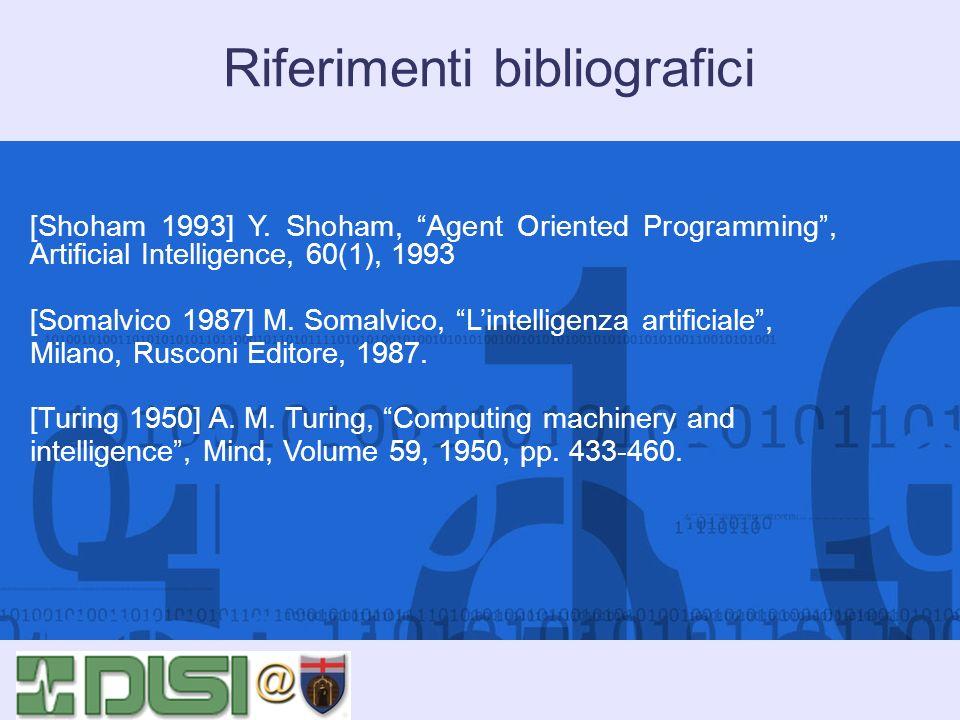 Riferimenti bibliografici [Shoham 1993] Y. Shoham, Agent Oriented Programming, Artificial Intelligence, 60(1), 1993 [Somalvico 1987] M. Somalvico, Lin