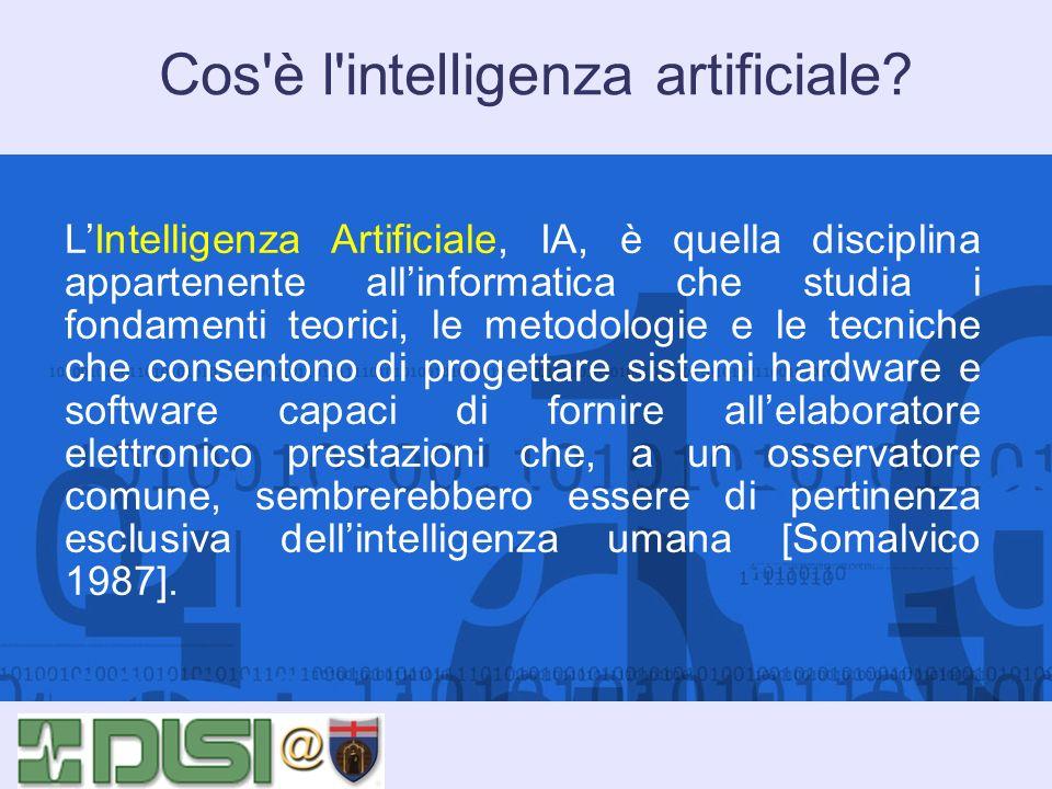Cos'è l'intelligenza artificiale? LIntelligenza Artificiale, IA, è quella disciplina appartenente allinformatica che studia i fondamenti teorici, le m