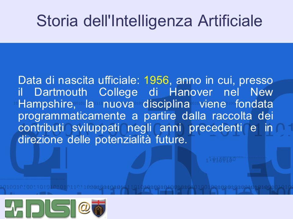 Storia dell'Intelligenza Artificiale Data di nascita ufficiale: 1956, anno in cui, presso il Dartmouth College di Hanover nel New Hampshire, la nuova