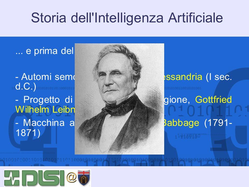 Storia dell Intelligenza Artificiale La IA ha ereditato molte idee, punti di vista e tecniche da altre discipline, in particolare dalla filosofia, dalla matematica e dalla psicologia.