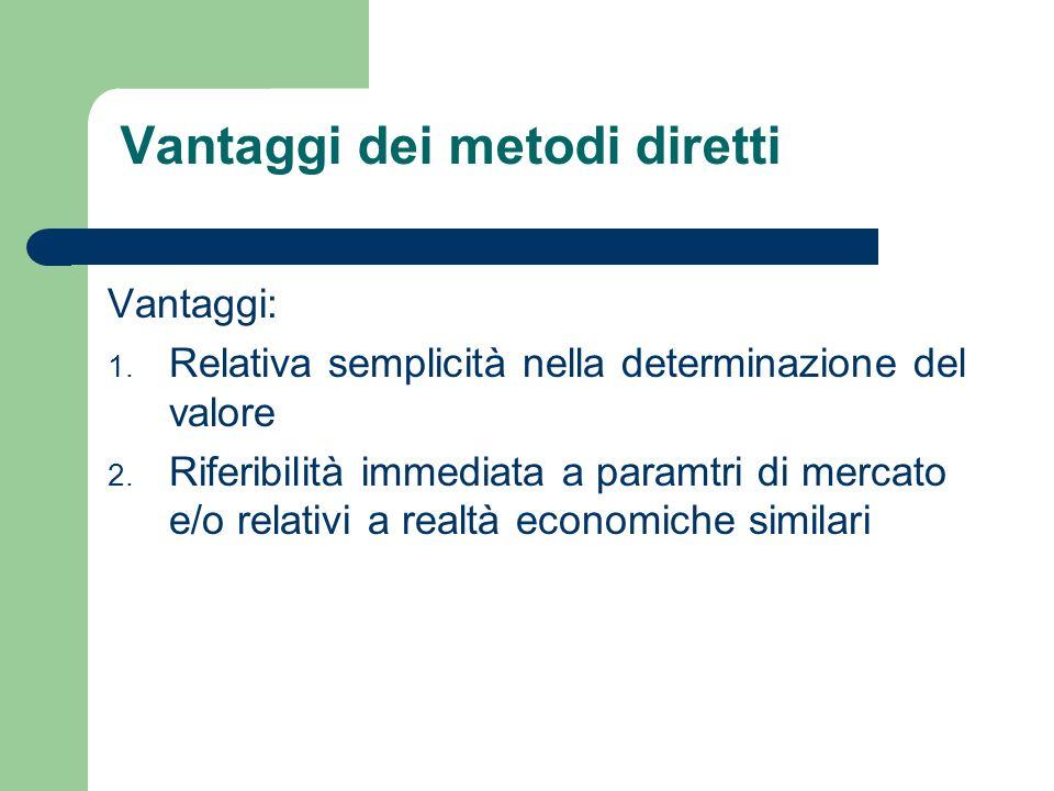 Vantaggi dei metodi diretti Vantaggi: 1. Relativa semplicità nella determinazione del valore 2. Riferibilità immediata a paramtri di mercato e/o relat