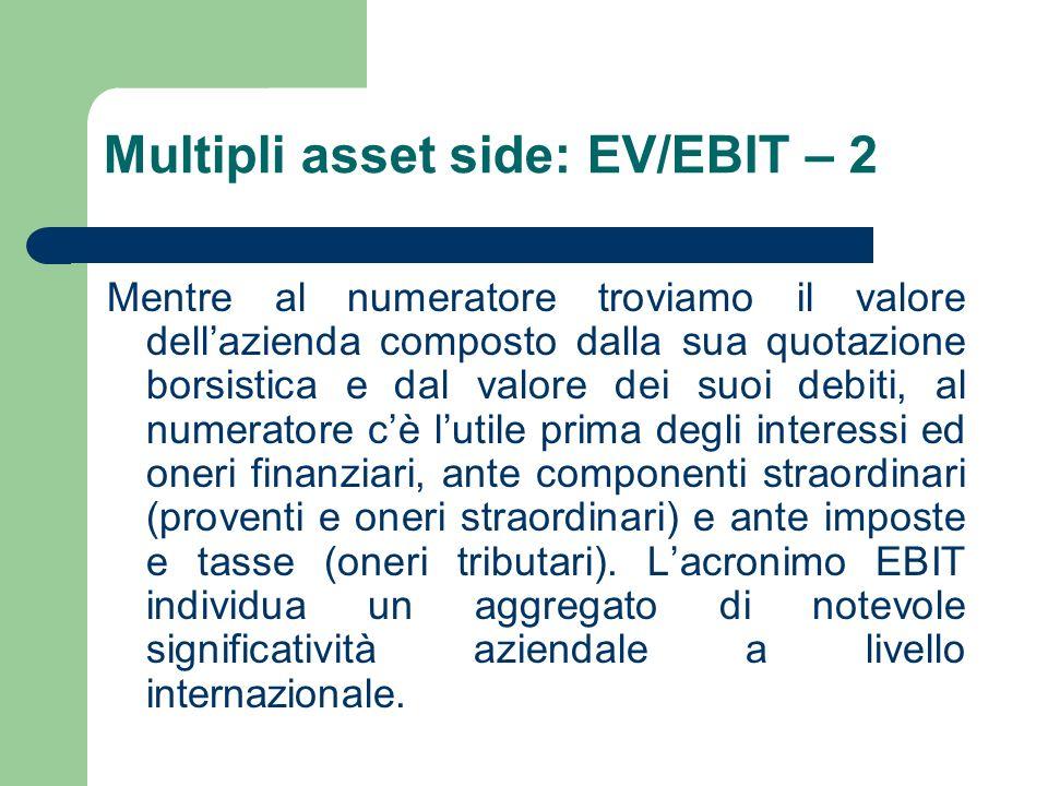 Multipli asset side: EV/EBIT – 2 Mentre al numeratore troviamo il valore dellazienda composto dalla sua quotazione borsistica e dal valore dei suoi de