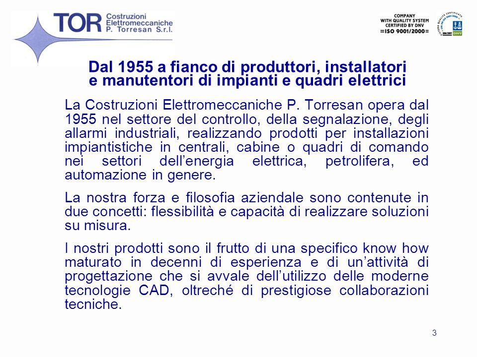 3 La Costruzioni Elettromeccaniche P. Torresan opera dal 1955 nel settore del controllo, della segnalazione, degli allarmi industriali, realizzando pr