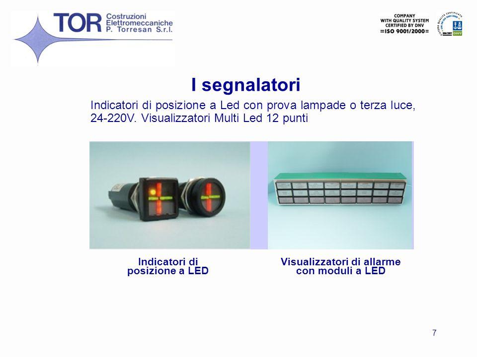 7 Indicatori di posizione a LED Visualizzatori di allarme con moduli a LED Indicatori di posizione a Led con prova lampade o terza luce, 24-220V. Visu