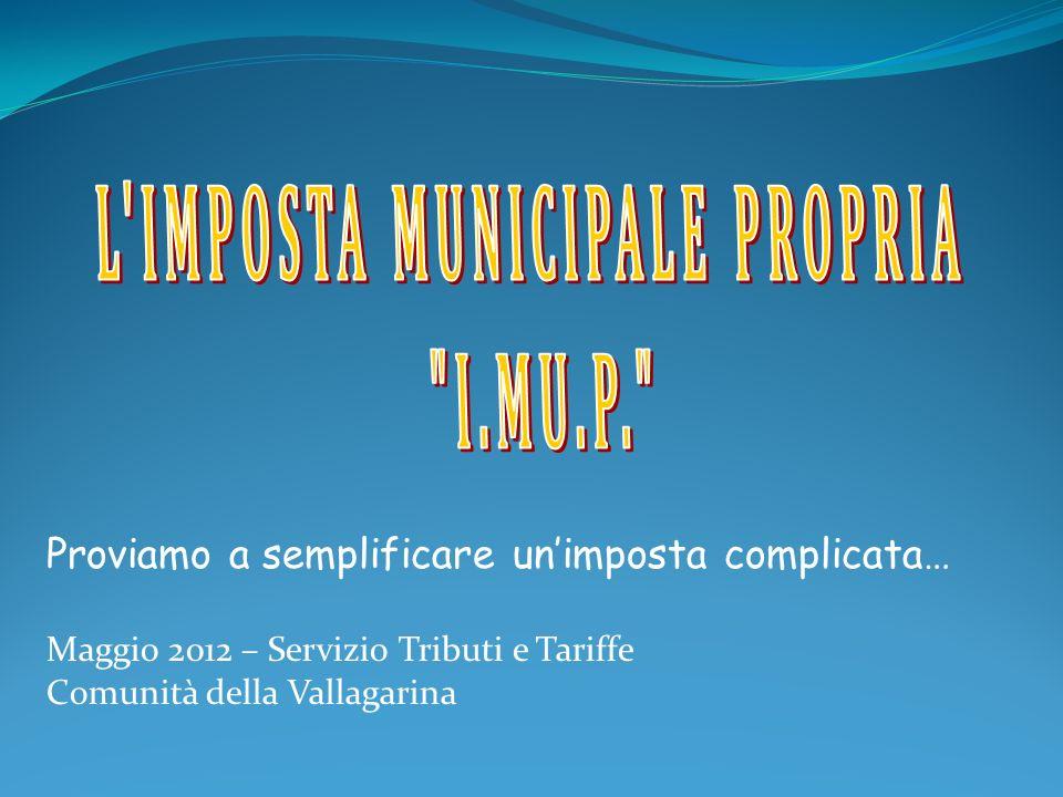 Proviamo a semplificare unimposta complicata… Maggio 2012 – Servizio Tributi e Tariffe Comunità della Vallagarina