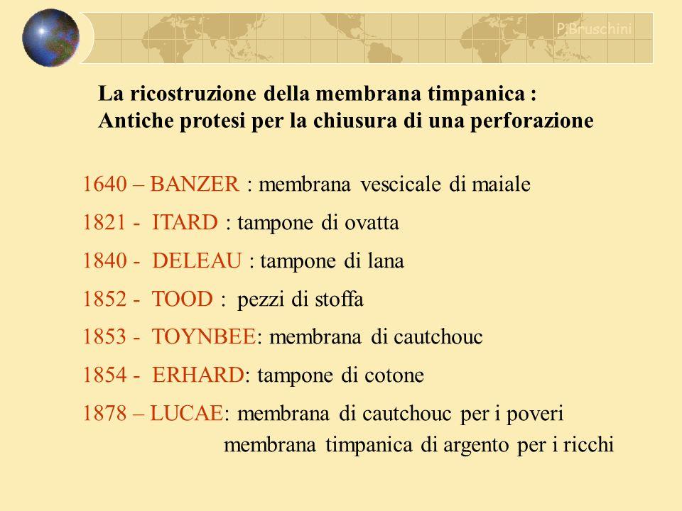La ricostruzione della membrana timpanica : Antiche protesi per la chiusura di una perforazione 1640 – BANZER : membrana vescicale di maiale 1821 - IT