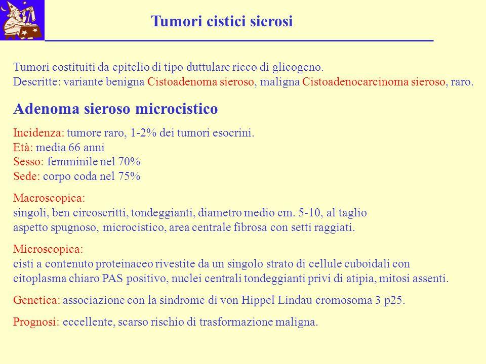 Tumori cistici sierosi Tumori costituiti da epitelio di tipo duttulare ricco di glicogeno. Descritte: variante benigna Cistoadenoma sieroso, maligna C