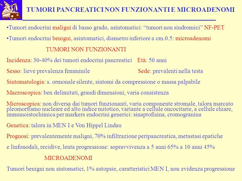 TUMORI PANCREATICI NON FUNZIONANTI E MICROADENOMI Tumori endocrini maligni di basso grado, asintomatici: tumori non sindromici NF-PET Tumori endocrini