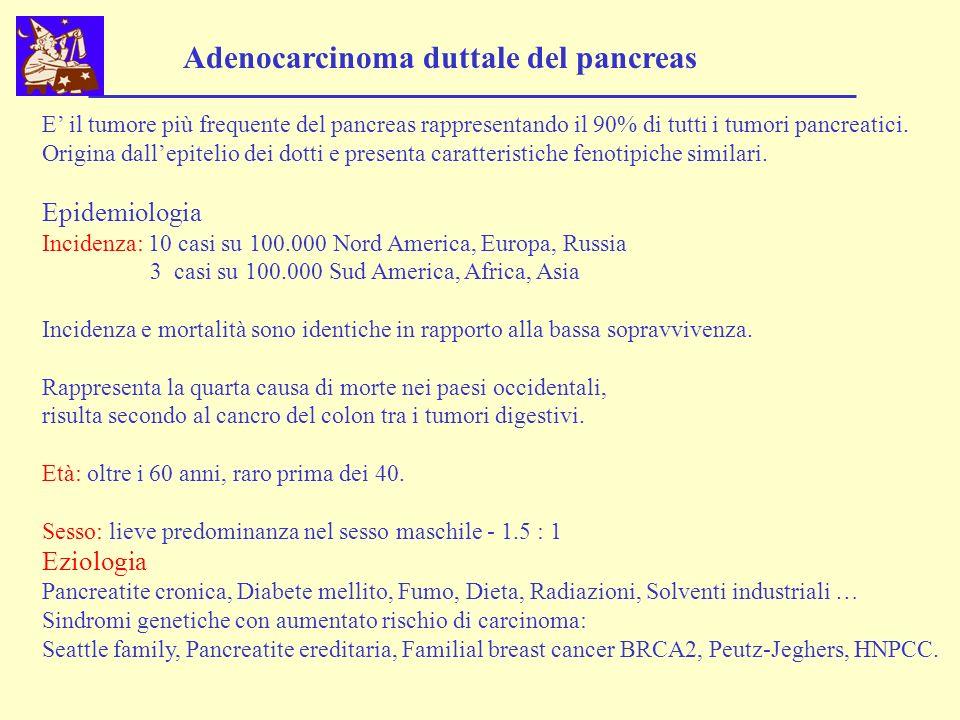 Adenocarcinoma duttale del pancreas E il tumore più frequente del pancreas rappresentando il 90% di tutti i tumori pancreatici. Origina dallepitelio d